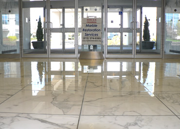 Commercial Foyer with Heavy Traffic Marble Floor Restoration