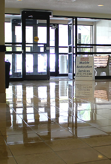 Marble and Stone Floor Maintenance by Marble Restoration Services Ltd. in Ottawa Ontario.